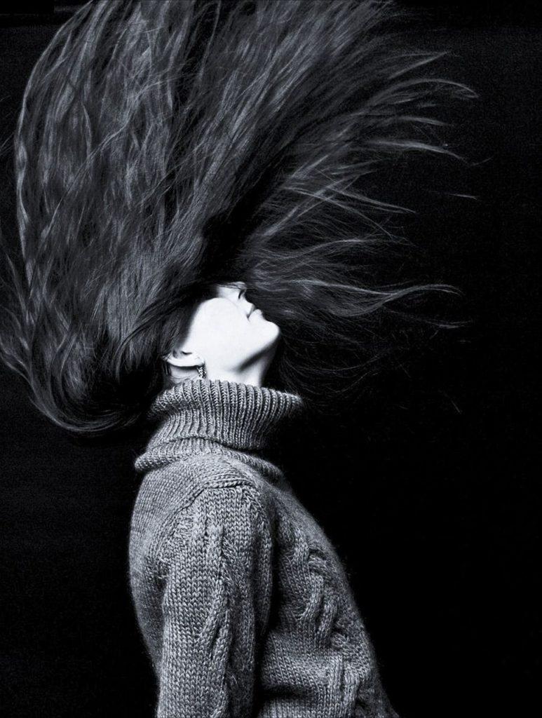 girl flipping hair