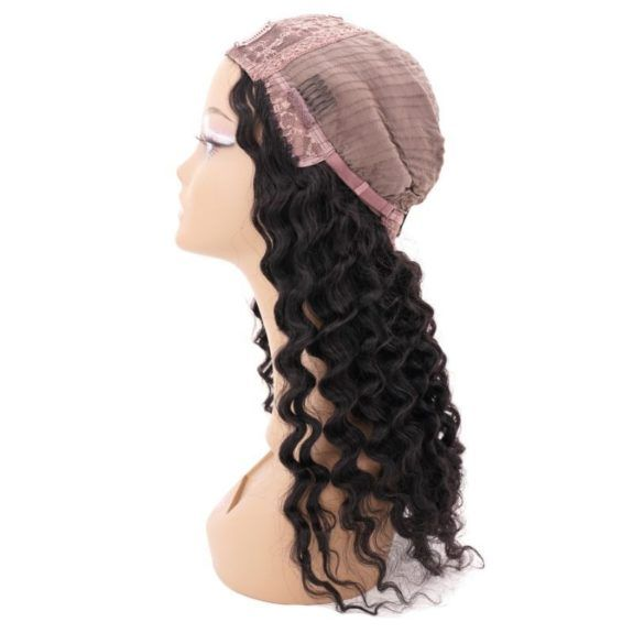 Brazilian Deep Wave U-Part Wig (inside cap side)