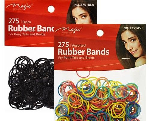 Black and Assorted Colors Mini Rubber Bands