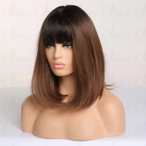 Black-to-Brown Ombre Bob with Bang Synthetic Wig