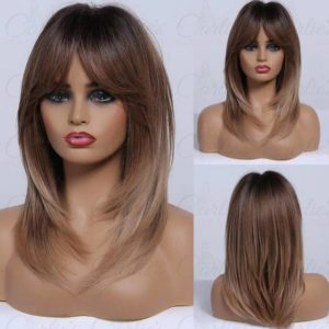 Brown-to-Blonde Ombre Naturally Layered Synthetic Wig