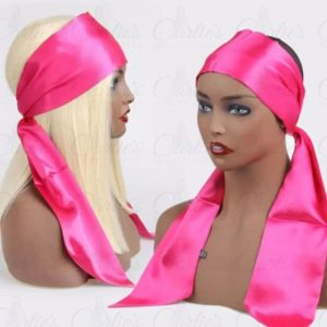 Pink Satin Edge Scarf on Mannequin