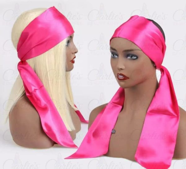 Pink Satin Edge Scarf on Mannequin