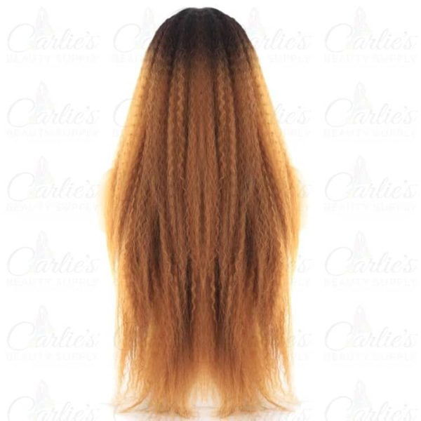 Synthetic Kinky Straight Long Front Lace Wig (back)