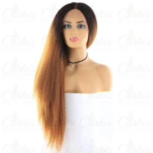 Synthetic Kinky Straight Long Front Lace Wig (front)