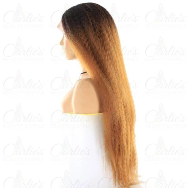"Synthetic Kinky Straight 26"" Front Lace Wig (left)"