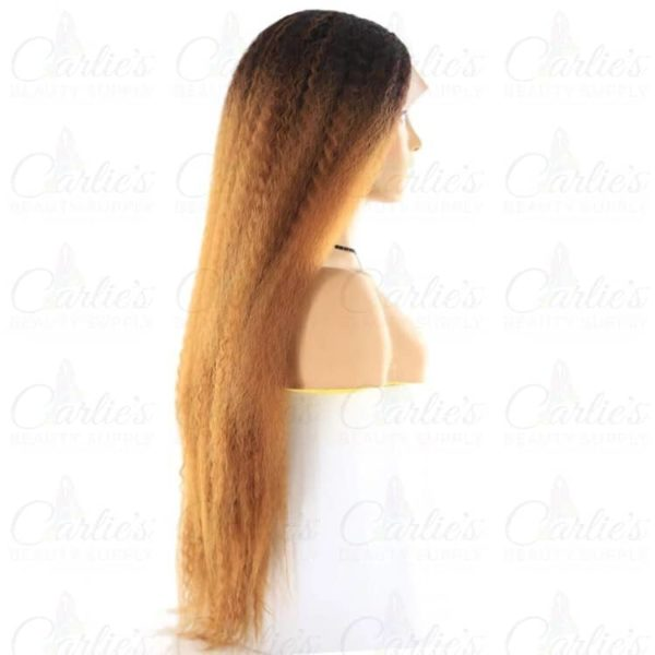"Synthetic Kinky Straight 26"" Front Lace Wig (right)"
