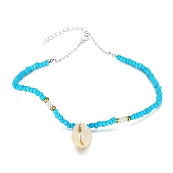 Beaded Cowrie Shell Choker Necklace