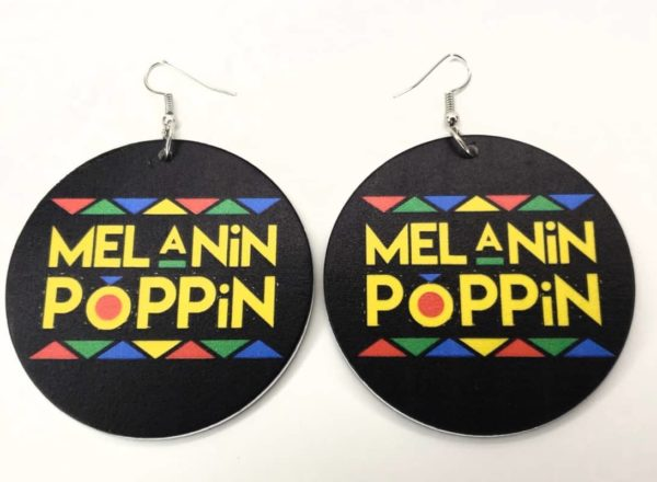 """Melanin Poppin"" Hand-Painted Wooden Earrings"