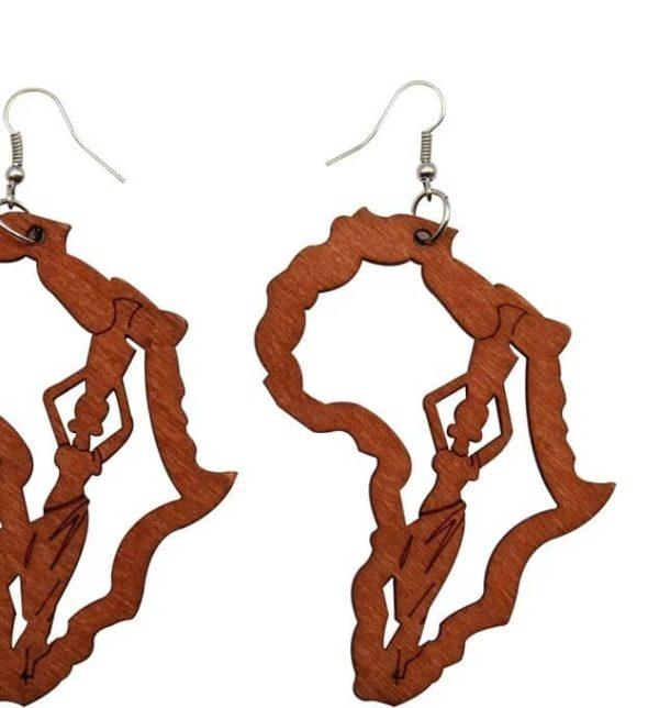 Mother Africa Wooden Earrings