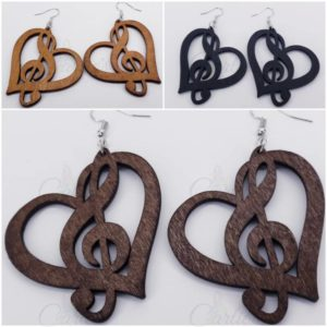 Musical Heart Wooden Earrings