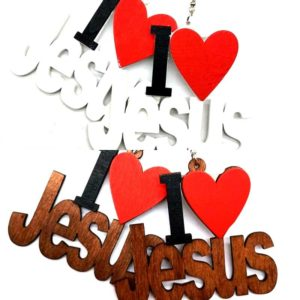 """I Love Jesus"" Natural Wood Earrings"